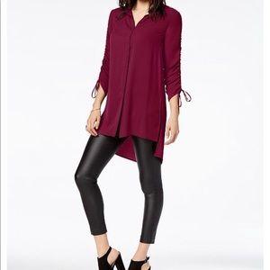 NWT💥 Macy's Bar III Ruched High-Low Shirt